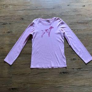 Girls LANDS END Pink Knit Beagle Dog Top L 14